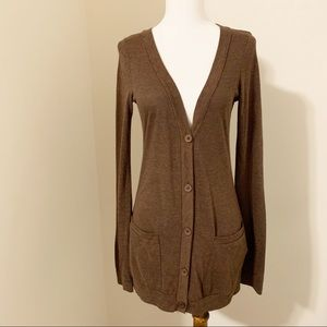 UO BDG V-Neck Tunic Cardigan Solid Brown S